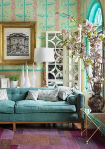 turquoise interior with lilac