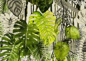 Behang met monstera plant print