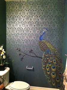 Wallpaper with Peacock print
